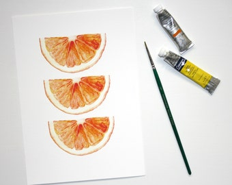 Watercolour Fruit Print, Orange Painting, Citrus Wall Art, Hand Illustrated, Kitchen Print, Vibrant Orange, Watercolour Orange Slice