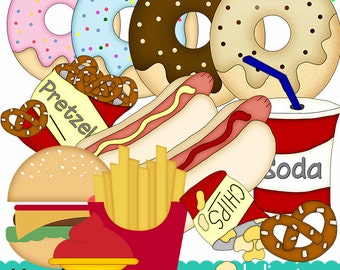 Fast Food, Burgers Fries, Soda And More , Commercial Use Clipart / Digital Clipart - Instant Download