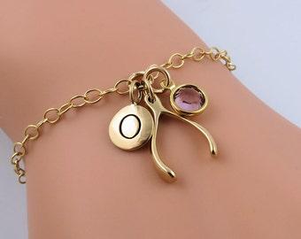 Lucky Wishbone Bracelet, Gold Wishbone, Personalized Bracelet, Custom Bracelet, Lucky Charm Bracelet, Tiny Wishbone Charm, Birthstone