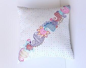 Henna Cushion - Mehndi Cushion - Mehndi Decor - Henna Decor - Boho Decor - Hippie Decor - Hand Painted Pillow - Mehndi Pillow - Henna Pillow