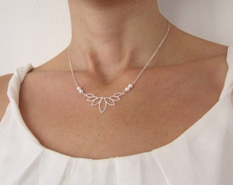 Silver Necklace with flower pendant, Pearl Necklace