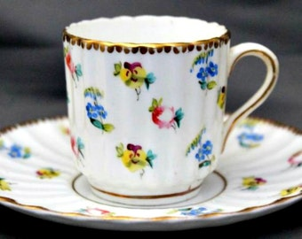 Antique Demitasse Tea Cups and Saucers, Set of 2, by C.Y. Davidson Baltimore, Victorian, Floral, Hand Painted, Fine China, Circa 1880, RARE