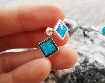 Square blue Opal earrings