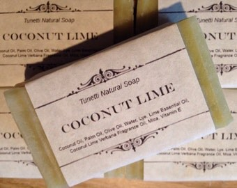 Coconut Lime Natural Homemade Soap Handmade soap, Natural Soap, Cold Process Lye Soap
