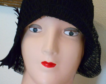 Awesome 1920's Flapper Black Horsehair Helmet Cloche Hat very Downton Abbey/Great Gatsby