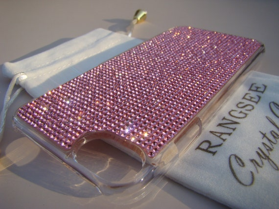 iPhone 7 Case Pink Diamond Rhinstone Crystals on iPhone 7 Transparent Clear Case. Velvet/Silk Pouch Included, Genuine Rangsee Crystal Cases.