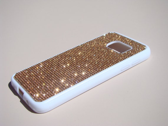 Galaxy S7 Rose Gold Diamond Crystals on White Rubber Case. Velvet/Silk Pouch Bag Included, Genuine Rangsee Crystal Cases.