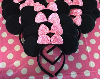 Set of 12 Inspired Disney Minnie Mouse Ears Pink Bow white Polka Dot Birthday Party Favors Disneyland Family trip Candy bag fillers Photo