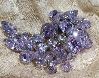 Vintage brooch light purple crystal by Kramer