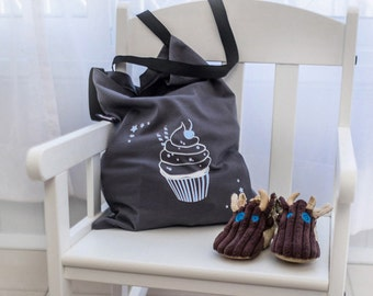 Cupcake Bag | Shoulder Bag | Cupcake Purse |  Diaper Bag | Pouch | Kitschy Bag | Tote Bag | Black Bag | Little Girl Bag | Bags and Purses