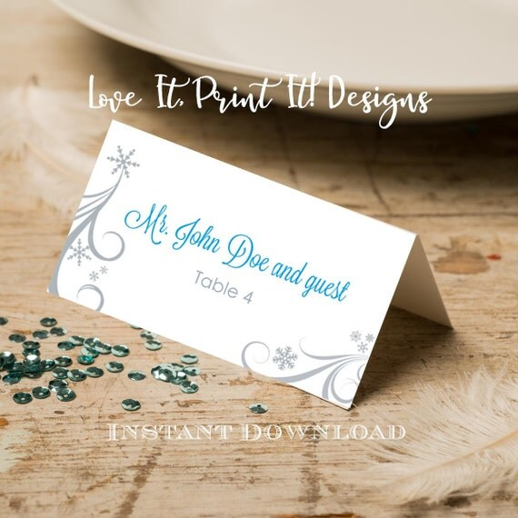 Wedding Place Card DIY Template Silver Swirling Snowflakes