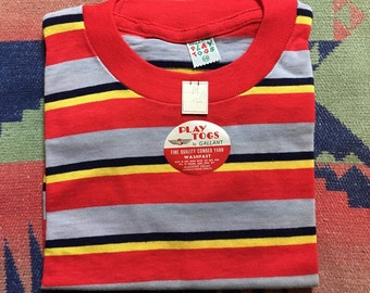 Vintage 1960s 50s Play Togs by Gallant striped t shirt deadstock