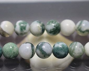 8 mm Green Tree Agate Round Beads, 15'' one strand