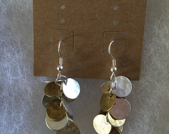 Handmade brass, copper and silver earrings- circles