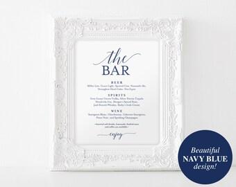 Bar Menu Sign, The Bar Sign, Wedding Bar Menu Printable, Wedding Sign, Wedding Bar Sign, Drink Menu, Navy, PDF Instant Download #BPB320_58