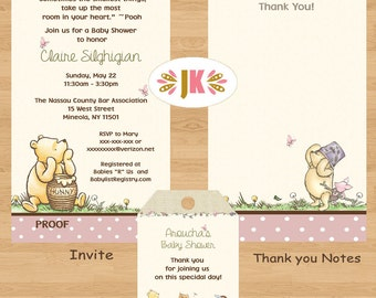 Classic Winnie the Pooh  Girl Baby Shower Printed Invitations * Come Party With Us *