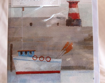 Boat and Lighthouse Birthday Card