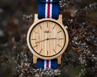 Elegant Handmade Wood Watches With Czech Design Made From Maple With  White/Red/Blue Nato Strap FREE ENGRAVING