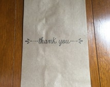 25 x Brown Paper Bonbonniere Treat Gift Sweets Bag - Hand Stamped Thank You Bags