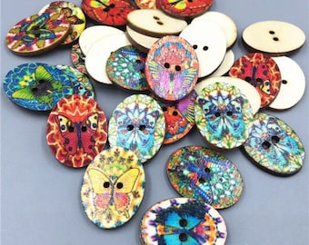 Mixed Coloured Butterfly Oval Wooden Buttons - Sewing  Event Butterflies Wood Scrapbooking Embellishment