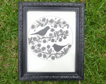 Mr and Mrs Bird - Birds Wall Art Print of Original Ink Drawing - Limited Edition Signed Illustration