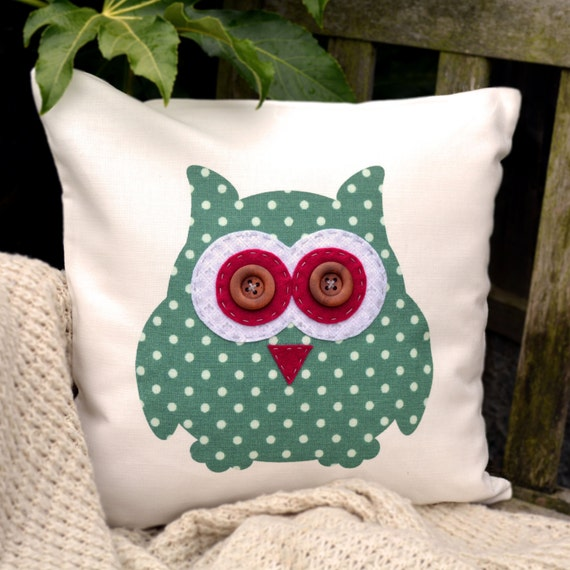 "Owl Cushion - Green Polka Dot, Grey Fleur De Lys & Raspberry ,  ""The Owls of Hoot"" Collection, Tamsin Reed Designs"