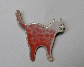 Red Kitty Brooch made of Stoneware Clay