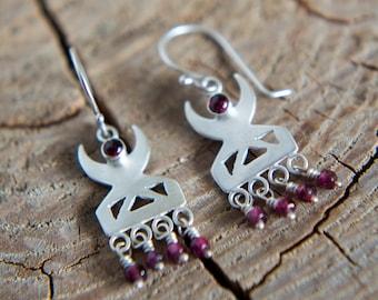 Xena Garnet Earrings