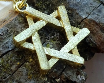 Gold Rustic Textured Star of David .925 Silver Necklace
