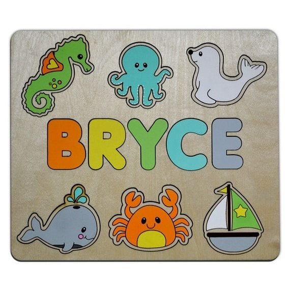 Off The Shore Personalized Wooden Name Puzzle Childs Custom