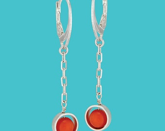 Sterling Silver Framed Coral Drop Earrings