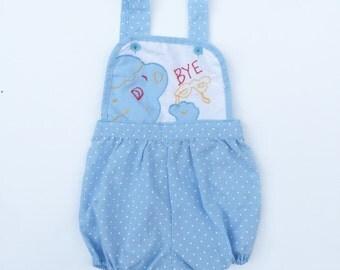Vintage blue polka dot baby romper. Vintage baby sunsuit. Polka dot romper. Baby romper.