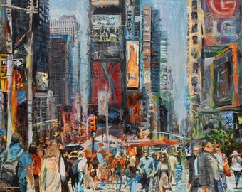 Hustlin' NYC, PRINT, Luster, New York City, Times Square, Cityscape, Painting, Art, Color, Black and White,(Original Acrylic on Canvas Sold)