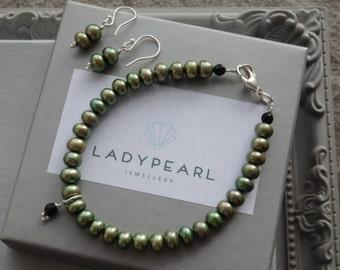 Pearl Jewellery Set, Freshwater Pearls, Pearl Earrings, Pearl Bracelet, Pearl Jewellery, Green Pearls, Silver Jewellery