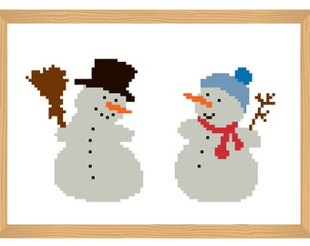 snowmen cross stitch pattern, winter cross stitch, christmas pattern, funny pattern, cute pattern, modern cross stitch, snowman