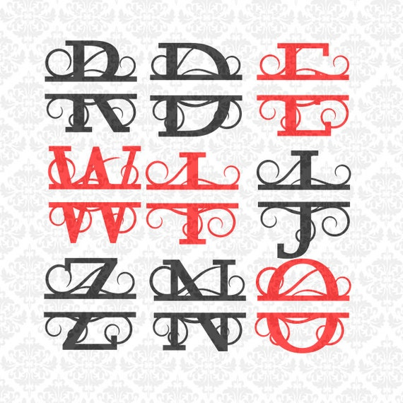 Split Monogram Swirly Letters Fancy Last Name Alphabet SVG  Ai EPS Scalable Vector Instant Download Commercial Use Cricut Silhouette