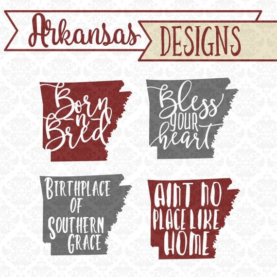 Southern Arkansas Born N Bred Bless Your Heart SVG DXF STUDIO Ai Eps vector instant download commercial use cutting file cricut silhouette