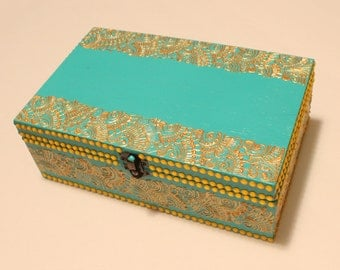 Teal and Gold Jewelry Box