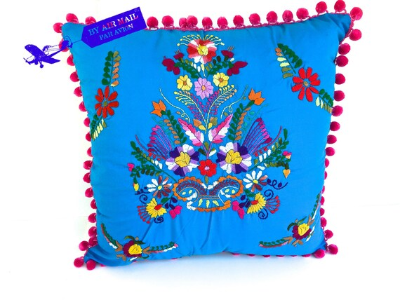Aqua Embroidered Mexican Dress Pillow COVER 18 Square