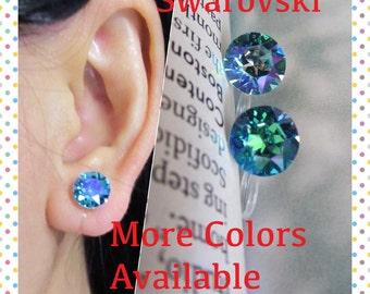8mm Crystal Clip On Earrings  C2S  Lt AB Sapphire Stud Rhinestone Clip Earrings Non Metal Non Pierced Bridal Wedding Clip Earrings Clip-ons