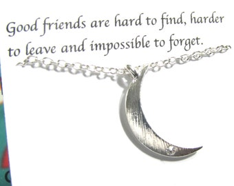 Silver Moon Bracelet, Rhinestone Crescent Moon Bracelet, A5, Dainty Friendship Bracelet, Best Friend Bracelet, Best Friend Gift For Friends