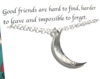 Silver Moon Bracelet, Rhinestone Crescent Moon Bracelet, A5, Dainty Friendship Bracelet, Best Friend Bracelet, Best Friend Gift For Friends