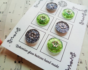 Modern Czech art glass buttons on the card, lacy florals in candy colors 7/8 inch FREE SHIPPING