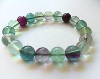 Fluorite Beads Bracelet 10mm