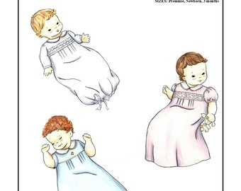 Creations by Michie' #101 - Infant Daygown - Sizes: Preemie, Newborn, 3 month - Sewing Pattern Instant Download Printable