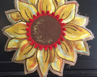 fall, sunflower, burlap, burlap door hanger, sunflower door hanger, fall door hanger, door hanger, large door hanger