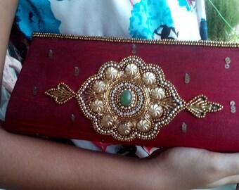 Indian embroider zardozi cotton silk Maroon Clutch  Purse/Handbag for Party/Wedding/ summer special Gift