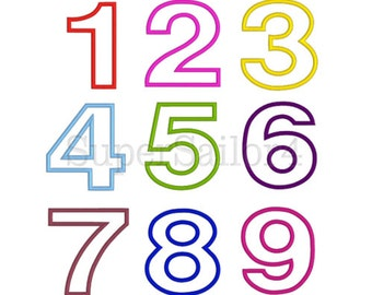 Numbers applique design, 4 sizes, Birthday numbers applique design, 1-9 numbers set applique design
