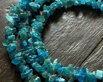 "Natural Apatite Crystals Neon Apatite 7"" Strand FB1807"