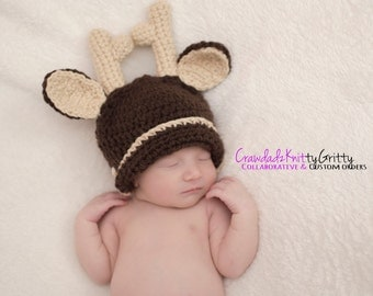 Deer Crochet Hat, Reindeer Crochet Hat, Woodland Creature Hat, Deer Hat, Reindeer Crochet, Christmas Crochet Hat, Photography Props, MTO
